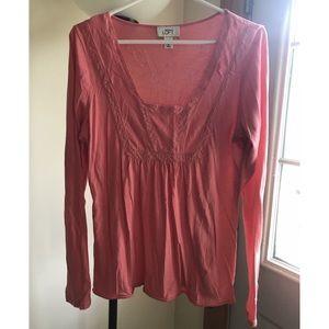 LOFT long sleeve pink shirt